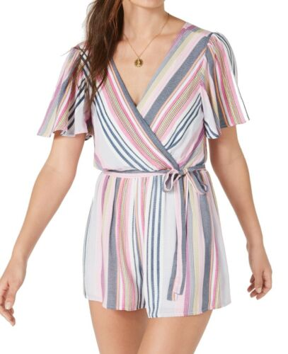 #133 Trixxi Womens Romper Pink Size Small S Tie Back Surplice Belted Stripe $39