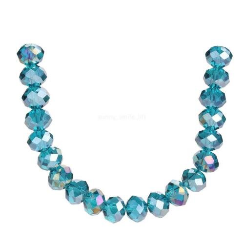 Rondelle Charms Peacock Blue Faceted Glass Wholesale 4-12mm Bulk Loose Beads