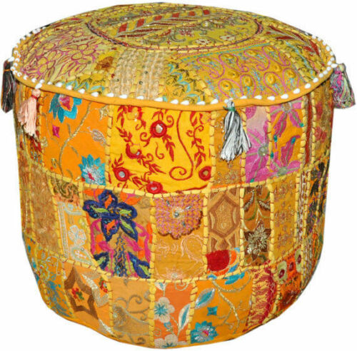 """22/"""" XL Ottoman Pouf Floor Pillow cushion in yellow Indian decorative foot stool"""