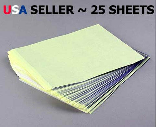 25 Sheets Tattoo Carbon Stencil Transfer Paper - Brand New USA SELLER!