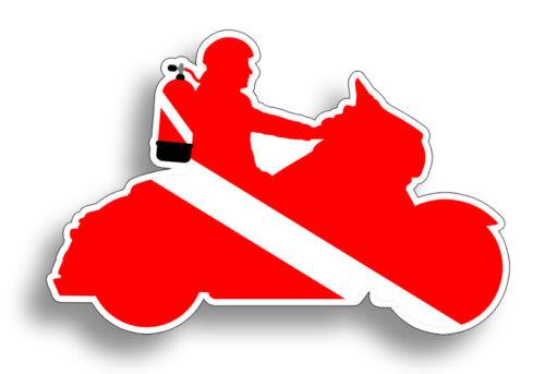 Mini Motorcycle Scuba Diver Down Flag Helmet Sticker Dive Diving Decal Bike Tag