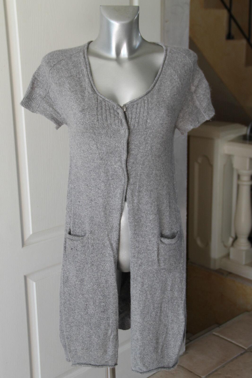Adorable Cardigan Long Vest Silk & Angora Cotélac Size 1 Mint