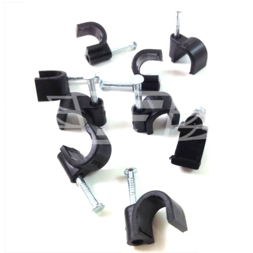 Round Cable Clips Black White 7 mm with Fixing Nails Phone TV  Satellite Aerial