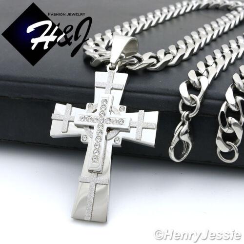 "20/""MEN Stainless Steel 9x4mm Silver Cuban Curb Necklace Bracelet Cross Pendant*N"