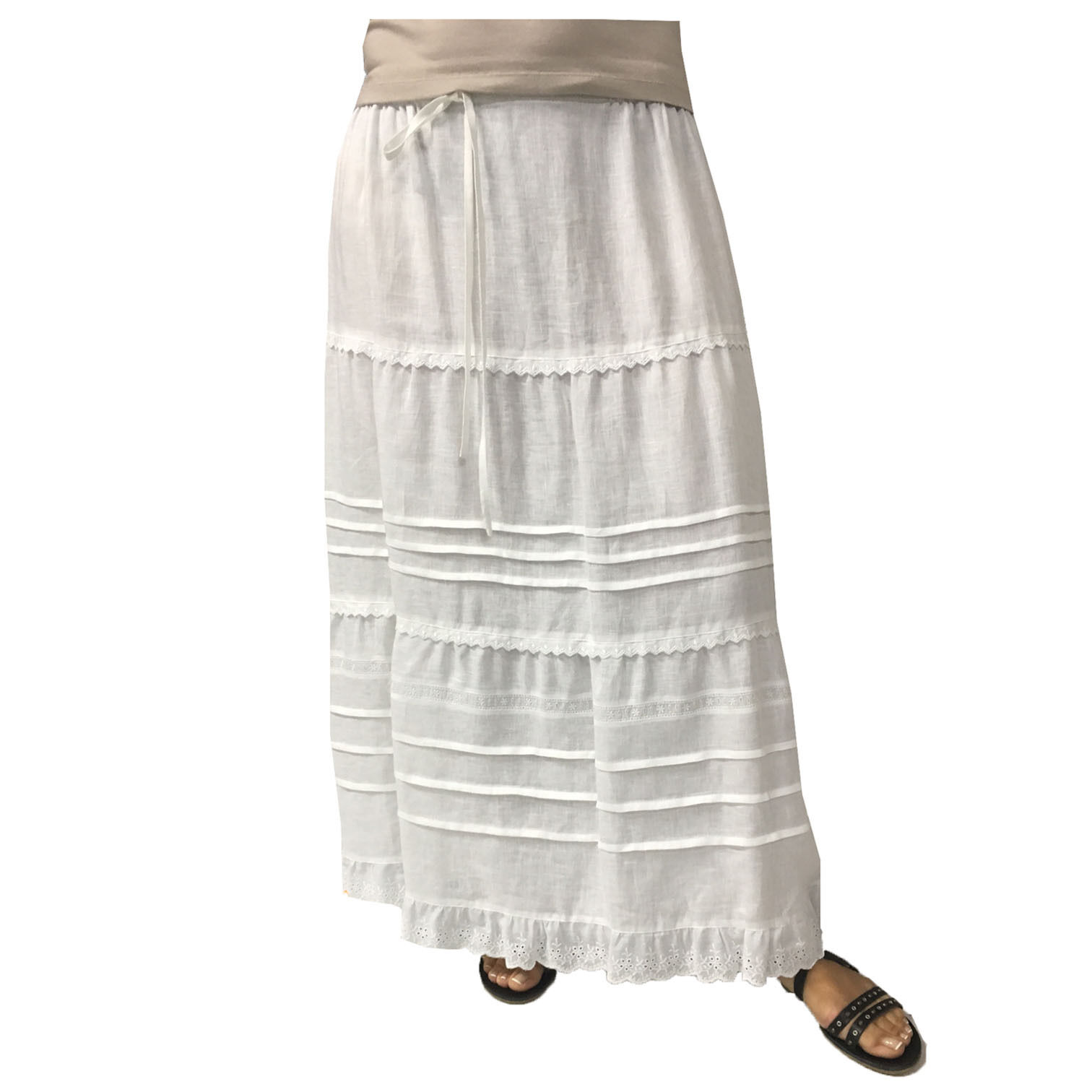MARINA SPORT by MARINA Rinaldi skirt woman long white BENGAL elastic waist