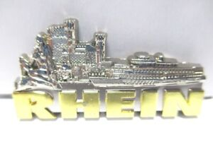 Rhein-Fluss-3D-Metall-Magnet-Metallic-silberfarben-Germany-hochwertig