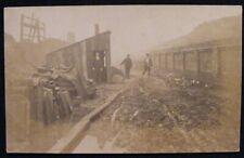 C 1905 WORKMEN IN ROSEVILLE RD OFF ROUNDHAY RD LEEDS RP POSTCARD POSS FOR TRAM ?