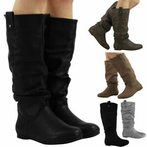Womens-Pixie-Mid-Calf-Rouched-Flat-Pull-On-Knee-Long-Ladies-Slouch-Boots-Size