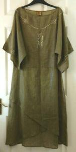 039-Tribal-Area-039-Sequin-Beaded-Khaki-Green-Light-Maxi-Dress-Blue-Iridescent-Thread