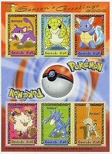 Grenada 2000 MNH Pokemon Season's Greetings Rattata Golduck 6v M/S Stamps