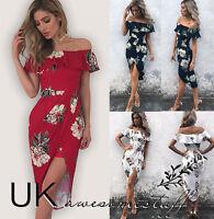 UK Womens Bandeau Asymmetrical Holiday Dress Ladies Floral Split Dress Size 6-14
