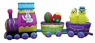 15 Ft Easter Bunny Chick Egg Train Air blown Inflatable Lighted Yard Decor