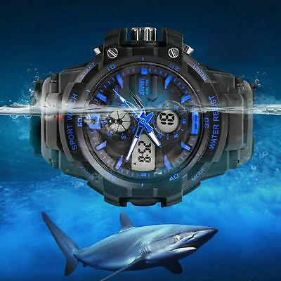 Dual Time Display Men's Multifunction Waterproof Outdoor Sports Wrist Watch