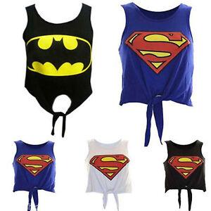 New-Womens-Ladies-Comic-Bat-Super-Hero-Logo-Print-Tie-Up-Crop-Vest-Tops-UK-8-14