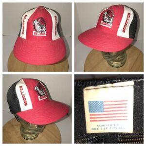 5f62445c42d VTG GEORGIA BULLDOGS 70s 80s USA Lucky Stripes Tri-Color Trucker Hat ...