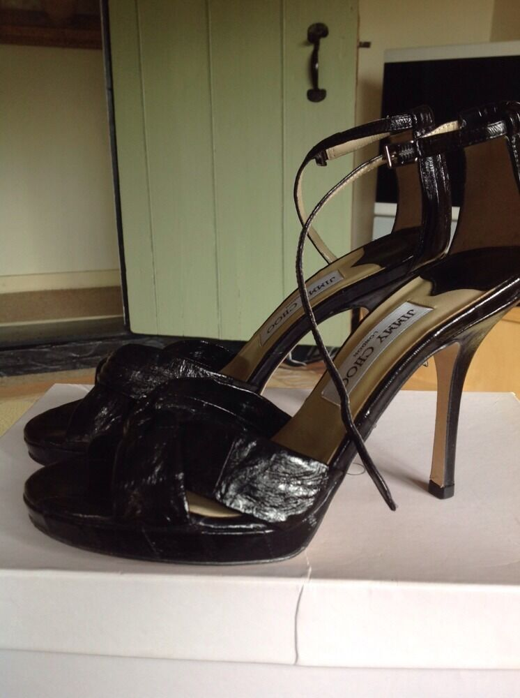 Black macy eel skin jimmy choo heels size 37 1 2 , Worn Once