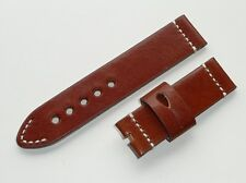 24mm Brown Genuine Leather Band Strap with Hand-Knit White Stitching fit PANERAI