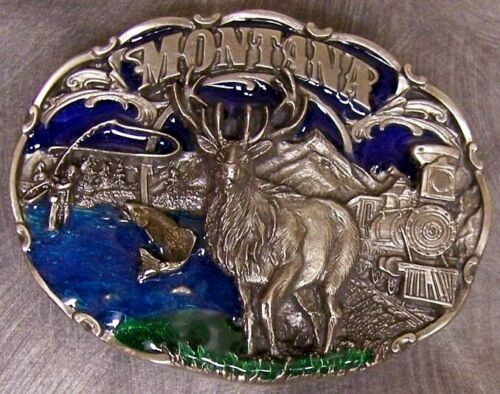 Pewter Belt Buckle State of Montana colored NEW