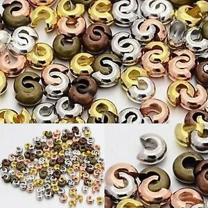 1box Smooth Mixed Color Bead Knot Cover End Bead tips Crimp Jewelry Findings 5mm