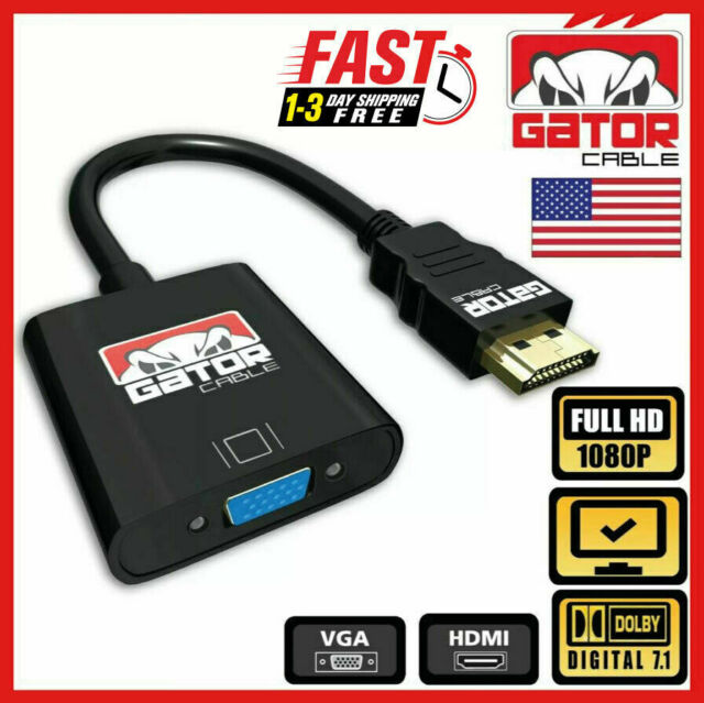 HDMI to VGA Adapter Converter Cable For HDTV PC Desktop Monitor Video 1080P 60Hz