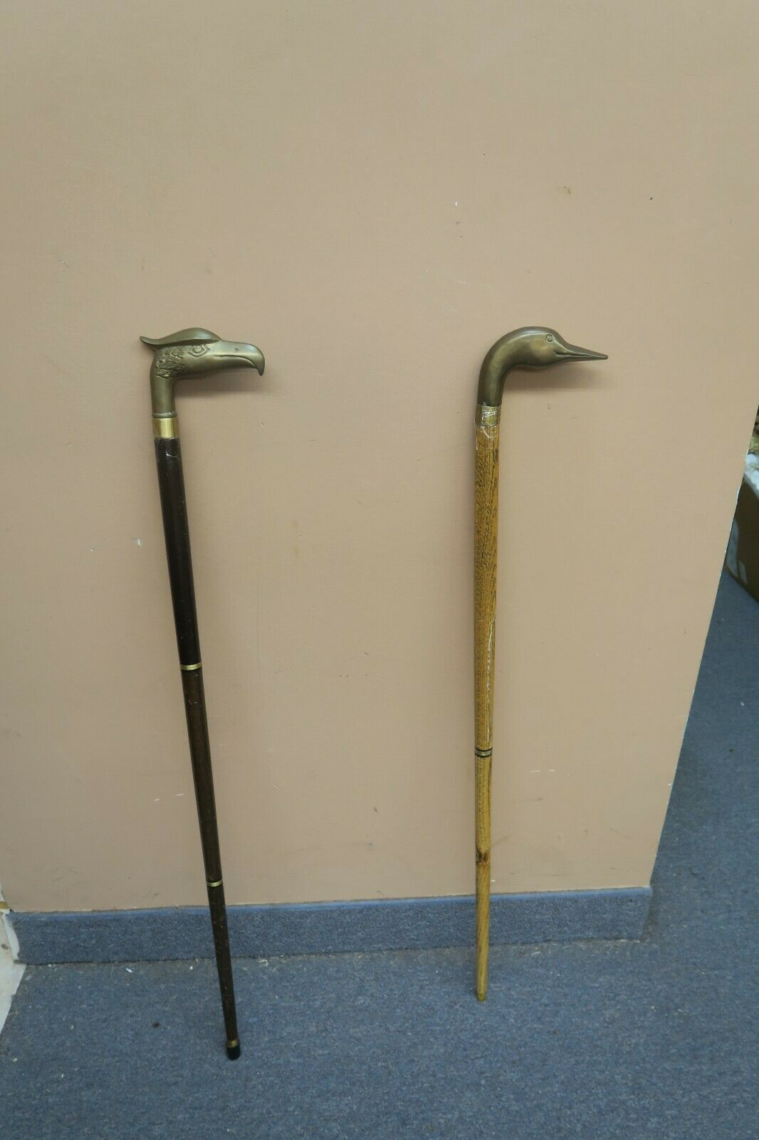 Set of 2 Vintage Wooden Cane With Brass Duck & Eagle Head Handle 35