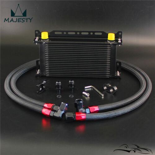 19 Row Oil Cooler w// Bracket Hose Kit For BMW E36//E46 M3 135//E90 335//640 Black