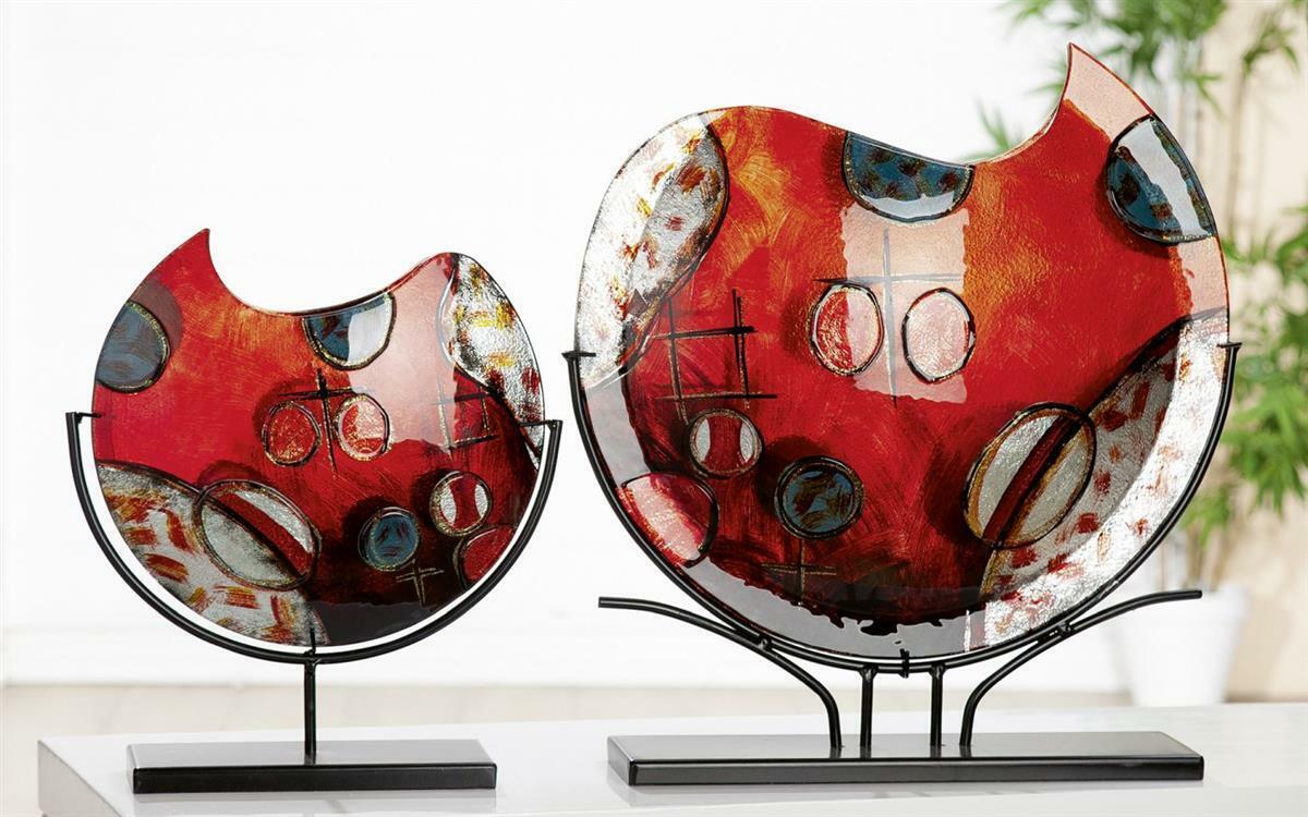 Gilde GlasKunst Deko Vase Croce  (BxHxT) 32 x 37 x 9,5 cm rot Gold silber bl schwa