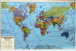 Cartina Geografica Della Spagna Politica.Cartina Geografica Murale Planisfero Mondo 100x140 Cm Fisica Politica Plasticata Ebay