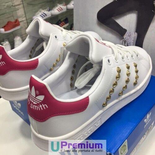 2d01b4e8a8f58 ® Scarpe Fuxia Originali Smith 2018 Bianco Italia Oro Borchiate Adidas Stan  100 qgpwaYO