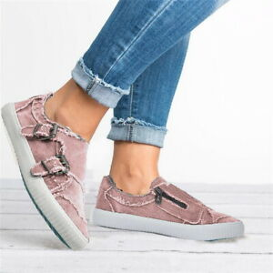Womens-Slip-On-Canvas-Flat-Trainers-Ladies-Casual-Loafers-Pumps-Shoes-Sneakers
