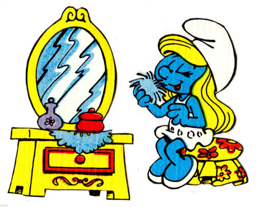 "3/"" Smurfs smurfette mirror vintage prepasted wall border cut out character"