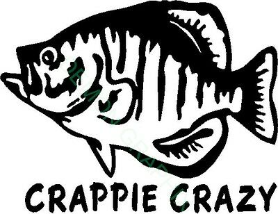 Crappie Crazy Vinyl Decal Sticker Fish Fishing Boat River
