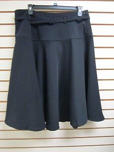 Qvc Dialogue Soft Dressing Belted Flared Skirt Black Size 20w
