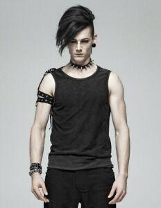 Punk-Rave-dieselpunk-Camiseta-sin-mangas-Chaleco-con-aspecto-envejecido-Negro-Gotico-Sin-Mangas-WT