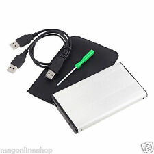 POUCH + EXTERNAL SILVER SATA CASE ENCLOSURE 2.5 INCH LAPTOP CASING
