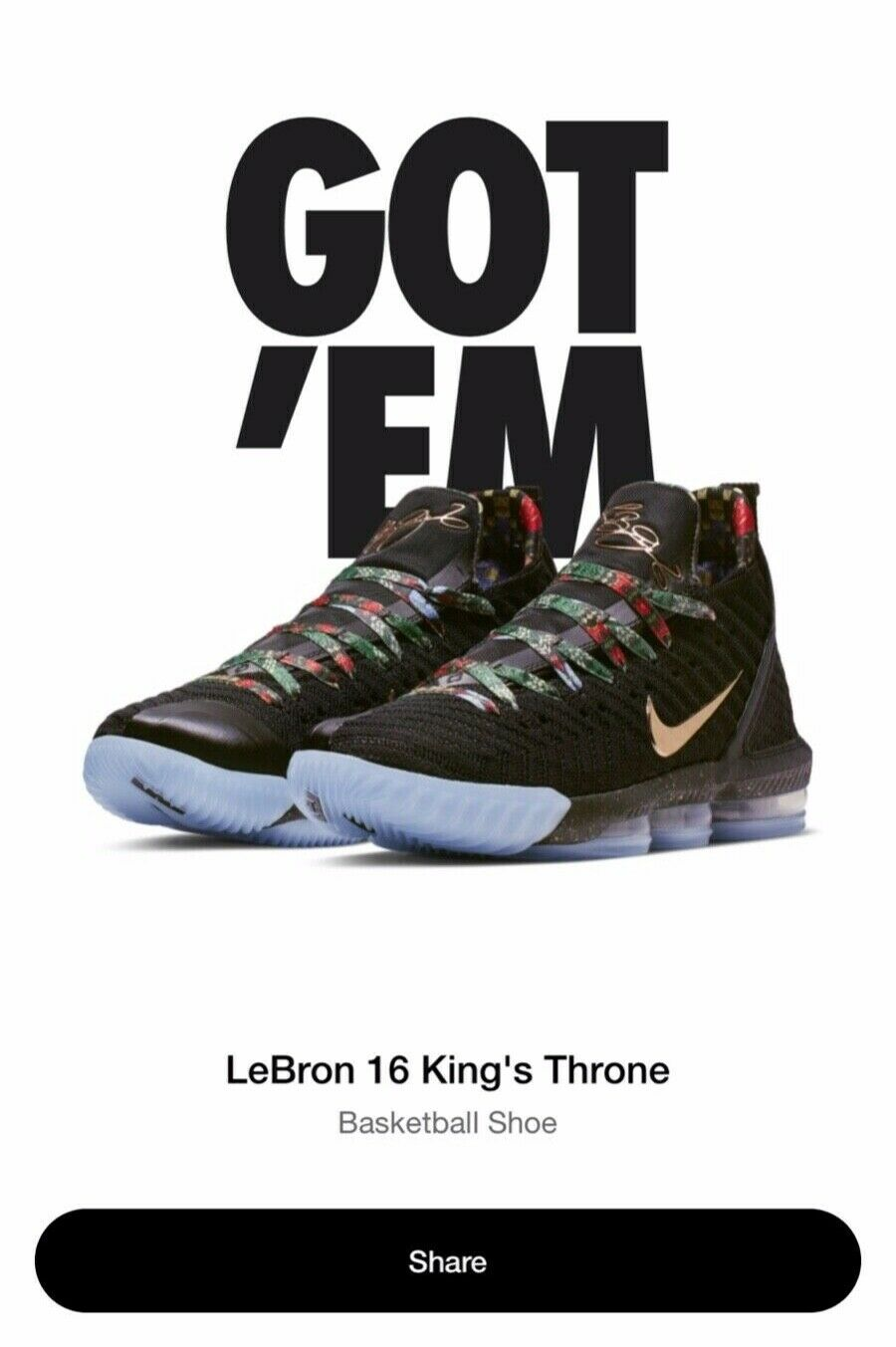 Lebron 16 Watch The Throne Men's Size 9.5