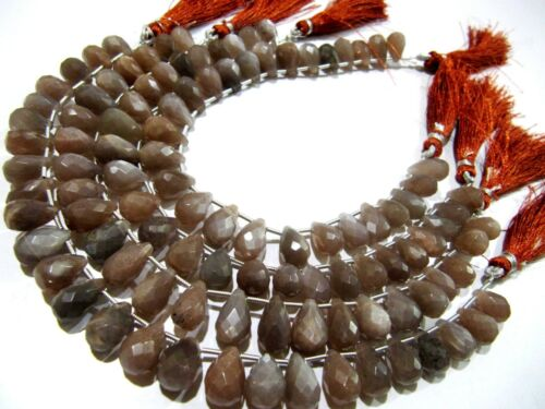 Natural Chocolate Moonstone Pear Shape Beads 7x12mm Briolette Strand 8 Inches.