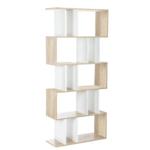 5 Tier Display Book Storage Shelf Unit White Brown Artiss