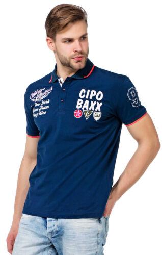 Cipo /& Baxx Herren Jungen Party T-Shirt Polo Shirt CT461 kurzarm navy dunkelblau