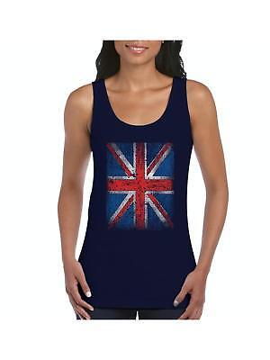 Union Jack Vintage British Flag Men Tank Top Medium Navy Blue Artix A