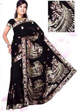 Black Belly Dance Bollywood Sequin Embroidery Sari Saree Costume danse du ventre