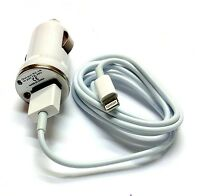 50 Lot White Car Adapter + Charger Cable Data Sync Transfer For Iphone 5s 6