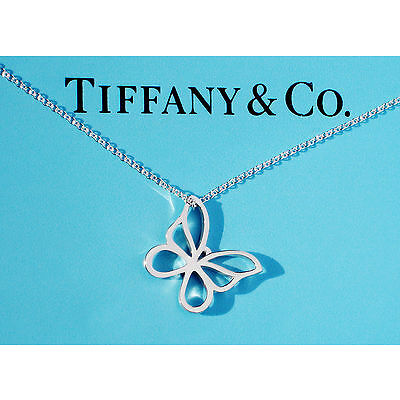 Tiffany & Co Sterling Silver Small Butterfly Charm Necklace