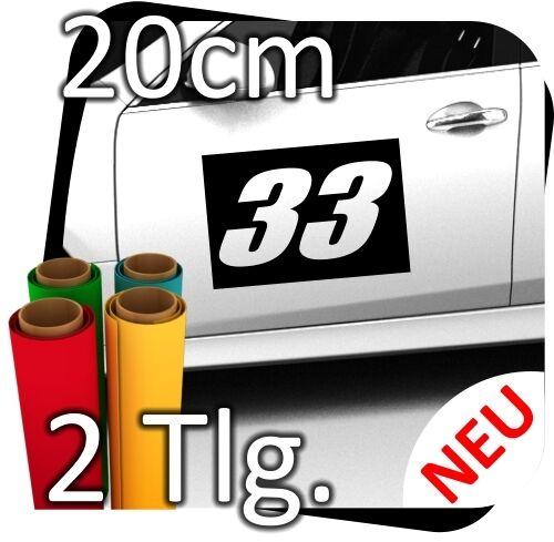 2x 20cm Nummer frei wählbar Startnummer Auto Autoaufkleber Rallynummer No.18