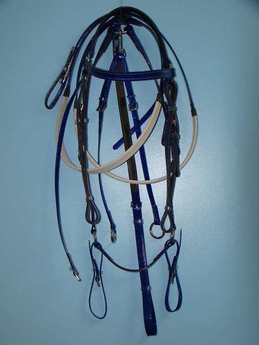 Barcoo Bridle,  Reins & Bplate Set - bluee PVC