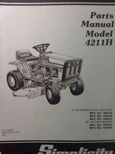 details about simplicity hydro 4211h lawn tractor \u0026 mower parts manual 1690759 1690912 1690846 rx51 voltage regulator wiring diagram 1693230 simplicity wiring schematics