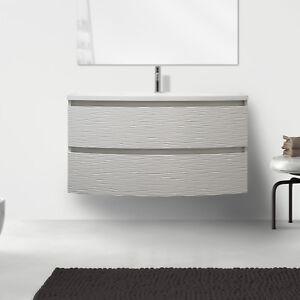 Mobile bagno sospeso 80 cm design moderno bianco opaco 2 cassettoni ...