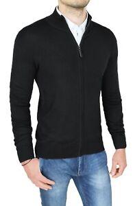 Cardigan-maglione-uomo-Diamond-invernale-slim-fit-nero-pullover-felpa-con-zip