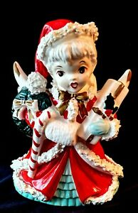 Vintage-NAPCO-CHRISTMAS-ANGEL-Shopper-w-Spaghetti-Trim-PLANTER-VASE-1950-039-s-Japan