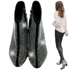Women Round Toe Rhinestone Ankle Boots Mid Block Heel Side Zip Party Shoes 34-42